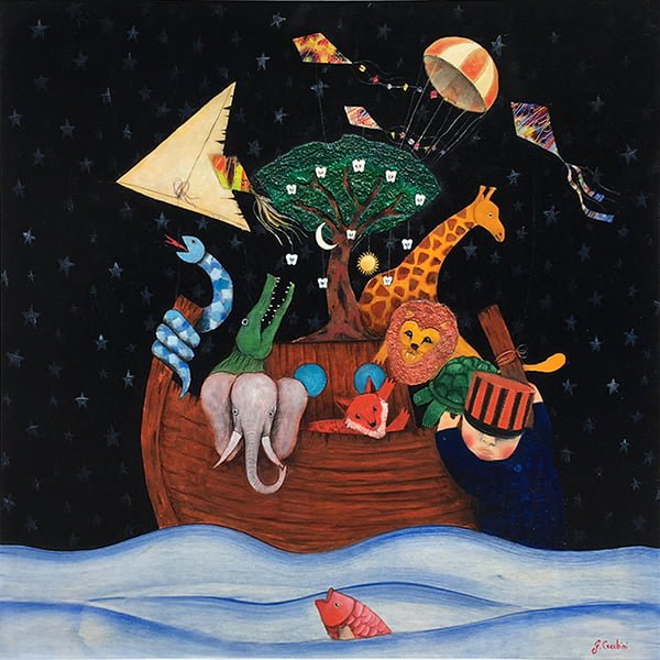 painting with an ark in the sea with animals and a tree