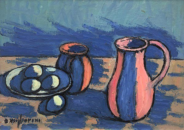 composition with pink pitchers eggs and blue shadows