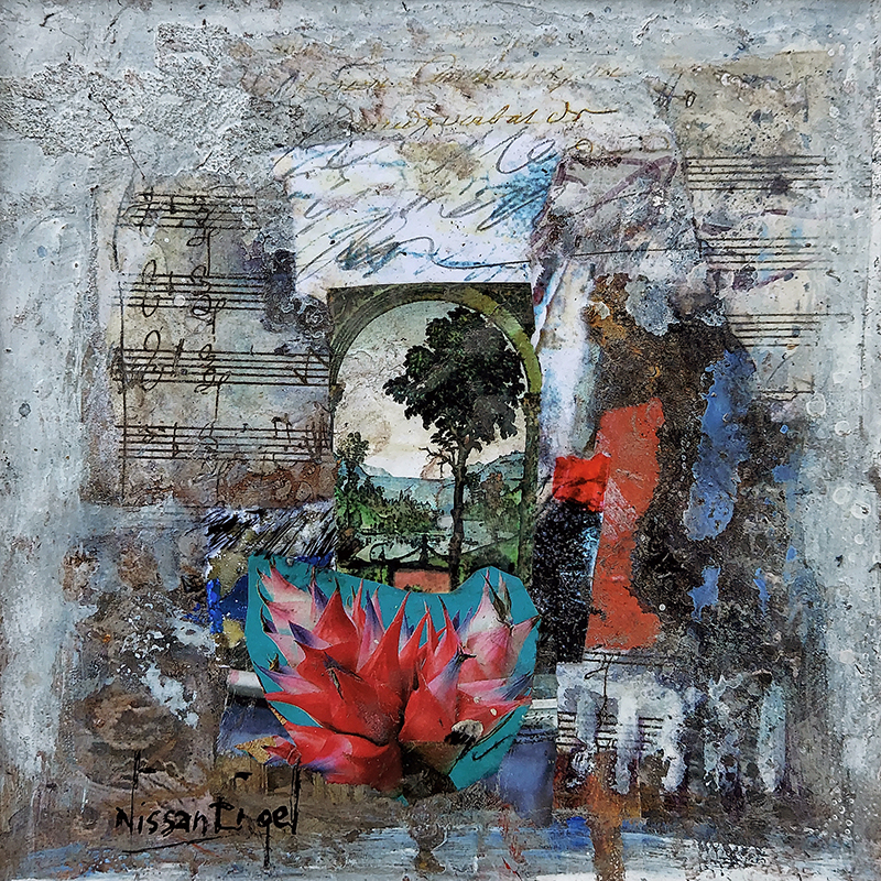 Collage with flowers and music