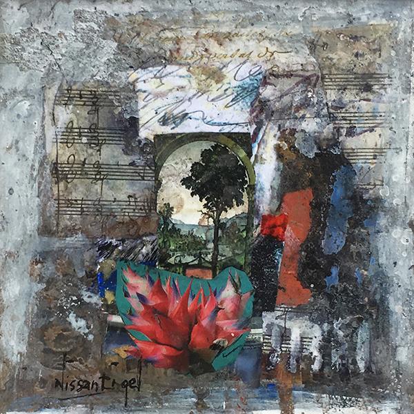 Collage con fiori e spartiti musicali