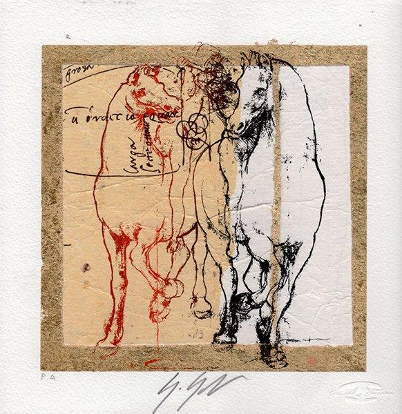 Cavalli di Leonardo su foglia oro