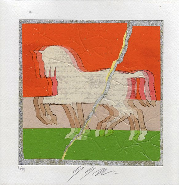 Cavalli di Leonardo su foglia argento