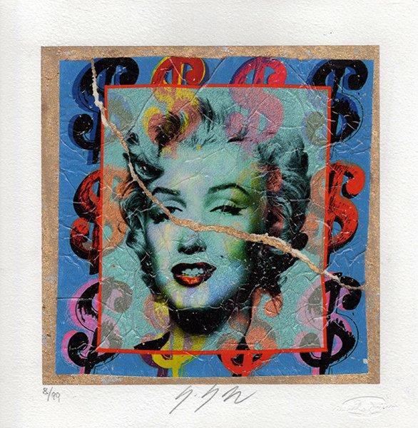Marilyn di Andy Warhol su foglia oro