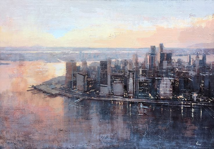 Porto di Manhattan al tramonto