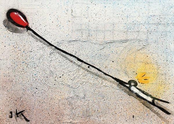 omino stilizzato vola via col palloncino