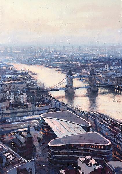 Panoramica di Londra con Tamigi e Tower Bridge